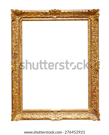 Classic golden picture frame. Isolated over white background, may be used for photo  - stock photo