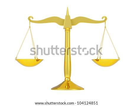 classic golden scales of justice, isolated on white background - stock photo