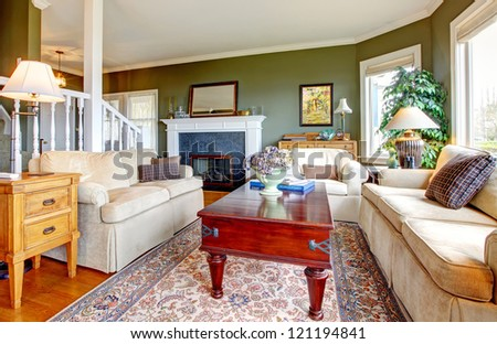 Classic  green living room with nice furniture, fireplace  and many windows. - stock photo
