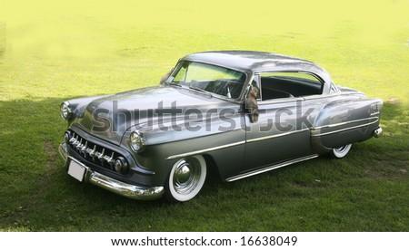 classic grey sedan taken in southern ontario - stock photo