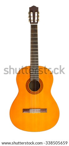 Classic guitar isolated on white background - stock photo