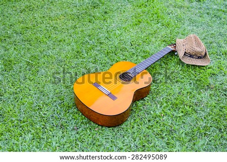 classic guitar on field