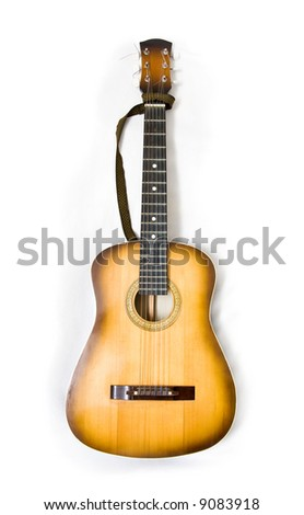 Classic guitar on white background. - stock photo