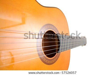 classic guitar, unusual perspective - stock photo