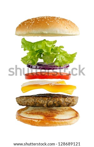 Classic hamburger ingredients, isolated on white - stock photo