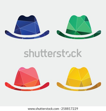 classic hat icon Abstract Triangle Geometrical background