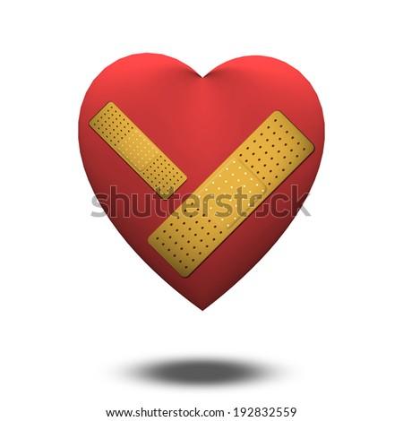 Classic Heart shape with bandage - stock photo