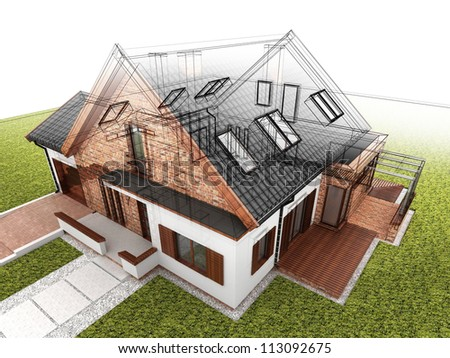 Classic house design progress, architectural drawing and visualization - stock photo