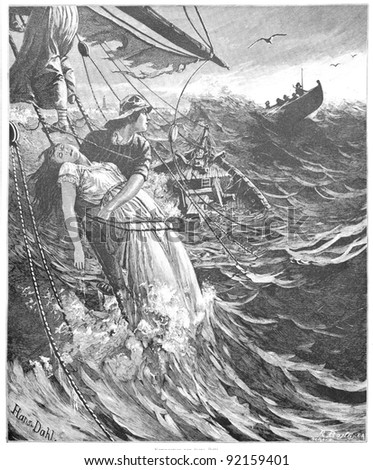 "Classic illustration depicting a shipwreck on a stormy sea by Hans Dahl, in the book ""Aus Sturm und Noth"", published by H. J. Schorer, Leipzig 1881 - stock photo"