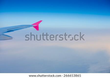 Classic image through aircraft window - stock photo
