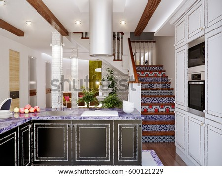 Classic Interior Design Of Dining Room And Kitchen With White Black Facades Brick