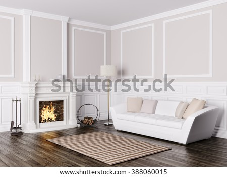 Classic interior design of living room with white sofa and  fireplace 3d render - stock photo