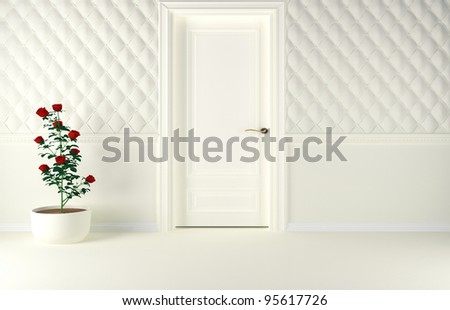 Classic interior design scene with a door and a plant, 3d render. - stock photo