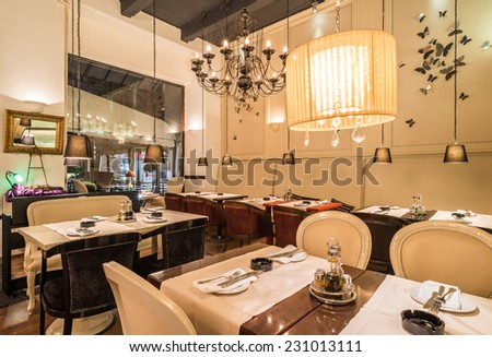 Classic interior in restaurant