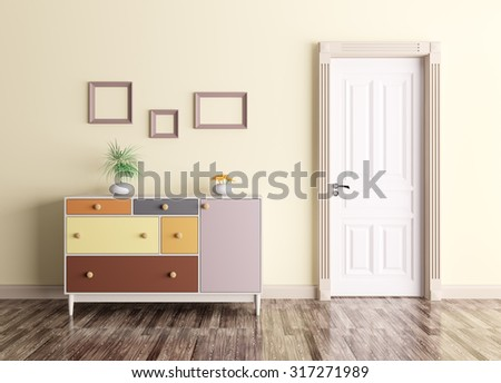 Classic interior of a room with door and chest of drawers - stock photo