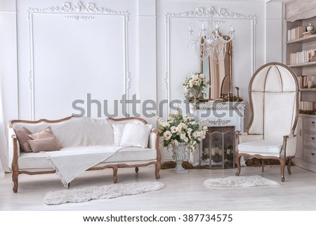 Classic Interior Of Living Room With Sofa And Armchair Near Fireplace - stock photo