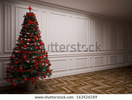 classic interior with a Christmas tree