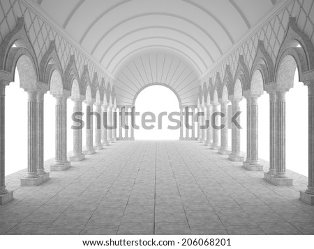 Classic interior with arches and columns - stock photo