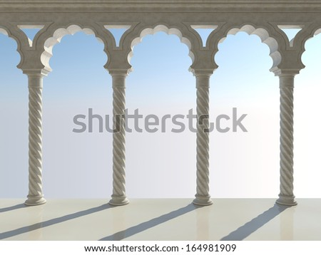 Classic interior with arches and columns. Front view. - stock photo