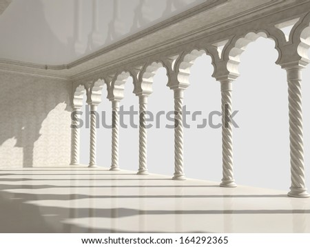 Classic interior with arches and columns. Perspective view - stock photo
