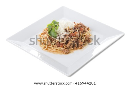 Classic italian bolognese pasta with tomato sauce and parmesan. Isolated on a white background. - stock photo