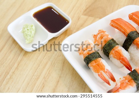 Classic japanese meal - sushi with differend kinds of fresh. - stock photo