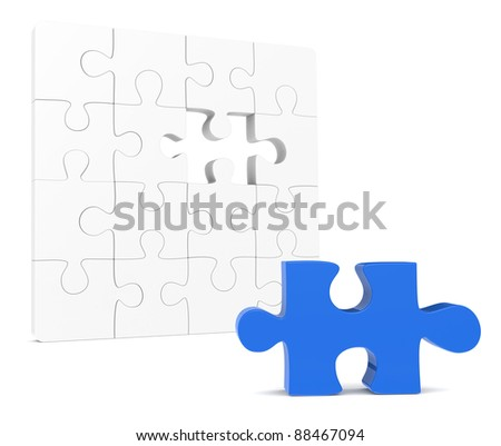 Classic Jigsaw Puzzle. One missing piece, Blue - stock photo