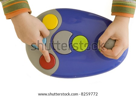 Classic Joystick with colored buttons - stock photo