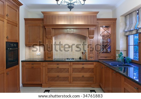 Classic kitchen interior - stock photo