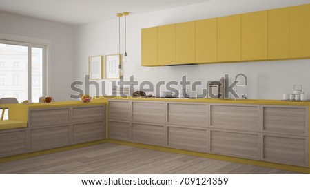 Classic kitchen with wooden details and parquet floor, minimalist white and yellow interior design, 3d illustration