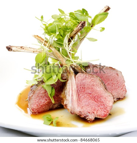 Classic lamb chops plate served french style - stock photo