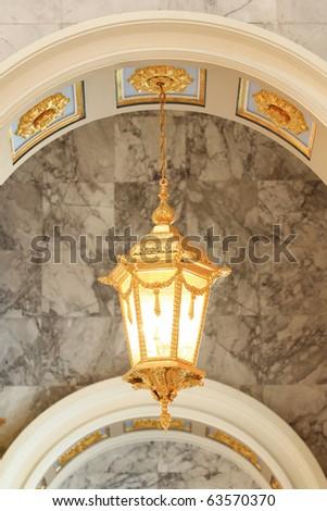 Classic lamp in church - stock photo