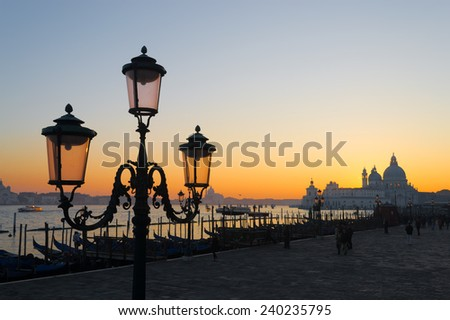 classic lamppost in San Marco square at sunset. Shot in Venice, Italy - stock photo