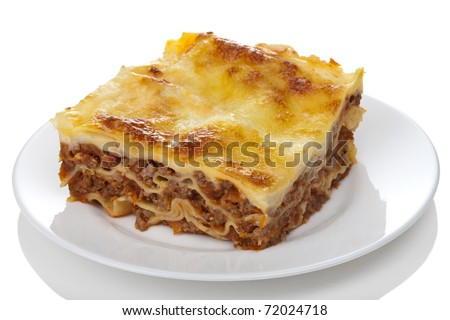 classic lasagna bolognese isolated - stock photo
