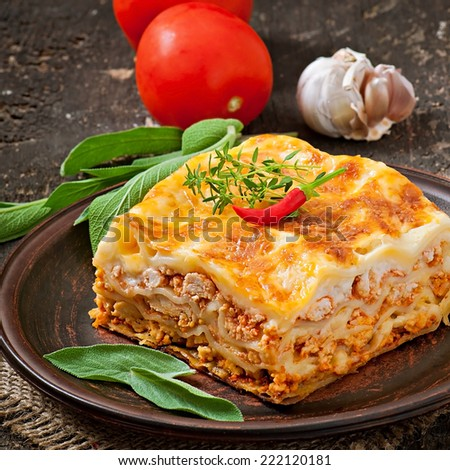 Classic Lasagna with bolognese sauce - stock photo