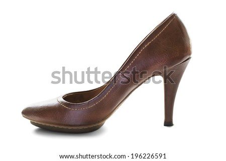 Classic leather brown high heeled shoe on white background