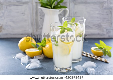 Classic lemonade with mint and lemon slices on blue background