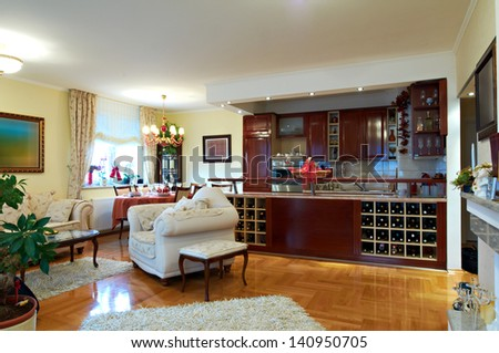 Classic living and dining room interior - stock photo