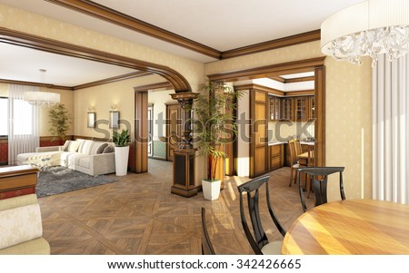 Classic Living Room With A Dining Table 3D Rendering - stock photo