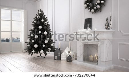 Classic Living Room With Big Window And Fireplace, Christmas Tree And  Decors, Winter,