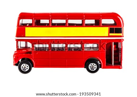 Classic London Bus model isolated over a white background - stock photo