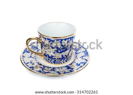 Classic luxury porcelain cup set, isolated on white background