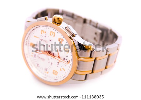 Classic luxury swiss wrist watch with chronograph - stock photo