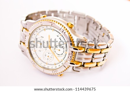 Classic luxury wrist watch with chronograph - stock photo