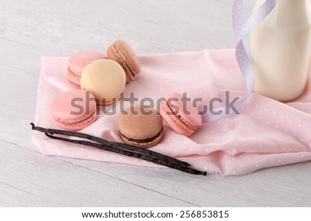 Classic Macarons with Raspberry, Coffee, Chocolate and Pistachios Filled with Cream, French Pastry - stock photo