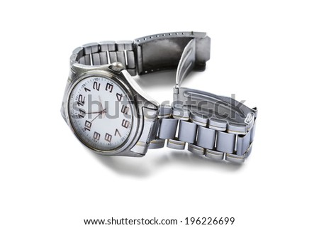 Classic male wristwatch on metal bracelet isolated over white - stock photo