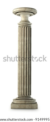 Classic Marble Column on white. Isolated High resolution 3D