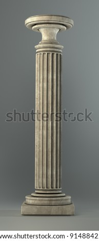 Classic Marble Column on white. Isolated  High resolution 3D image