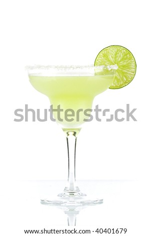 Classic margarita alcohol cocktail with lime slice isolated on white background