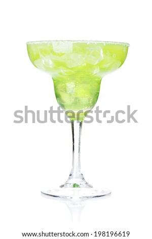 Classic margarita cocktail with salty rim. Isolated on white background - stock photo